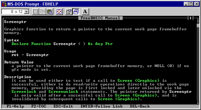Screenshot of FBHelp displaying information on the Screenptr function